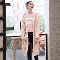 Quintina 2017 Новые Моды для Женщин Кардиган Открыть Sittch Вязаный Свитер С Капюшоном Длинные Стиль Свободный Размер Осень Женщины Свитер