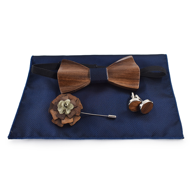 ZDJMEITRXDOOW 3D Wooden Bow Tie Men's Wedding Bowties With Wood Box Cufflinks Brooch Casual Luxury Vintage For Men Accessory