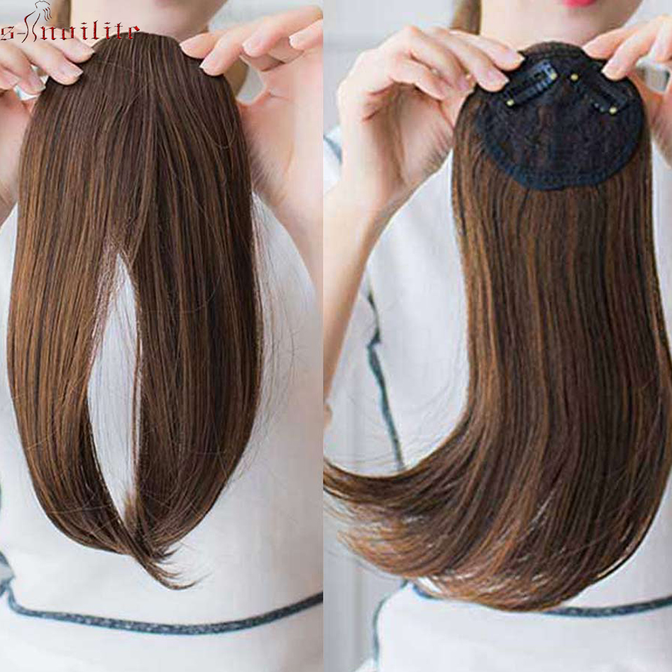 S-noilite 9inch Middle Part Bangs Side Bangs Clip in Hair Extension Women Bang Fake Hair Synthetic Top Front Hair Pieces