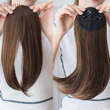S-noilite 9inch Middle Part Bangs Side Bangs Clip in Hair Extension Women Bang Fake Hair Synthetic Top Front Hair Pieces(China)