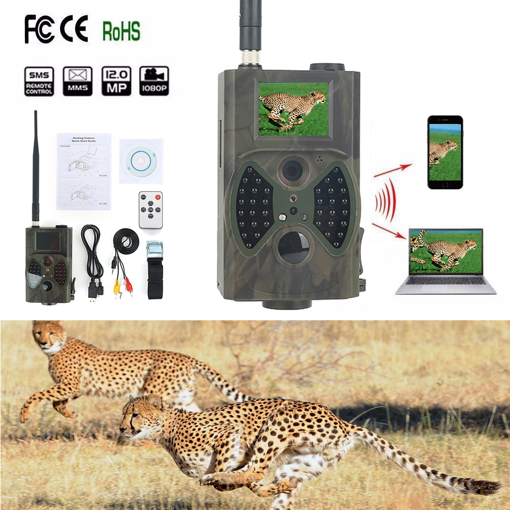 HC300M Hunting Camera Trail MMS GSM SMS HD Digital Night Vision Trail Camera GPRS 2.0 inch screen Black IR LEDs