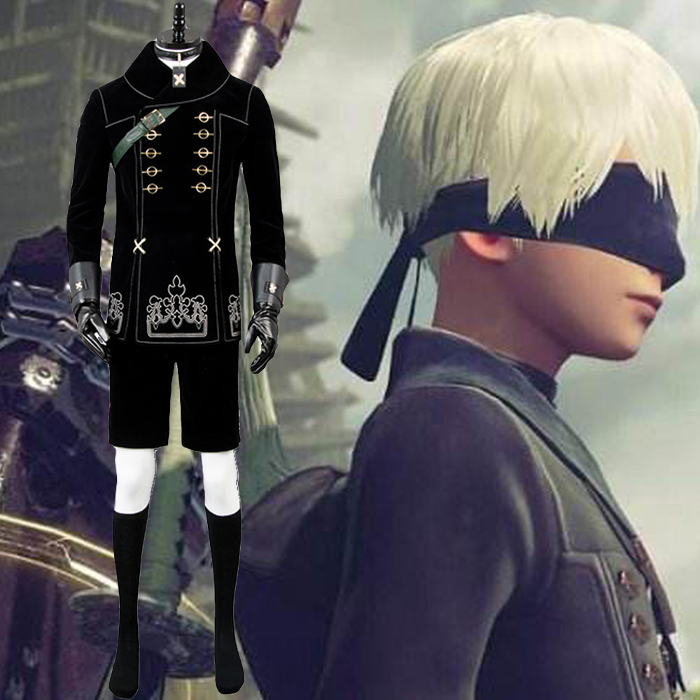 9S Cosplay NieR Automatas Costume YoRHa No.9 Type S Black Full Set Uniform Nier Automatas Halloween Carnival Size Full set