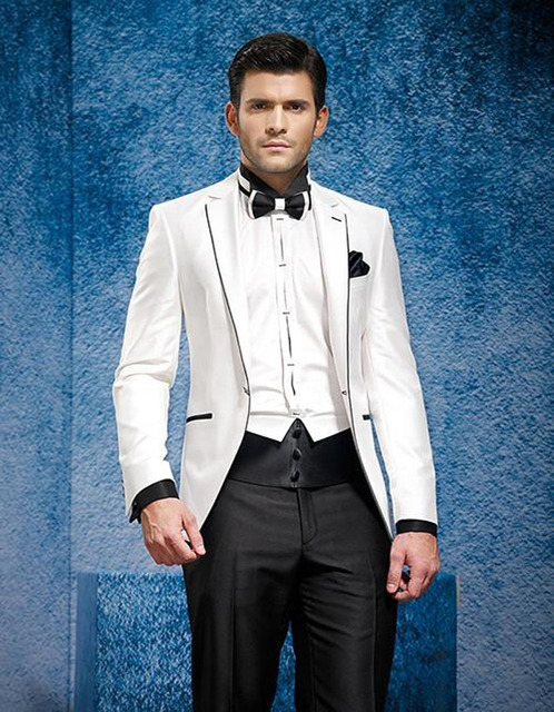 2018 New Style Slim Fit White Jacket Black Pants Custom Made Groom Tuxedos Men S Wedding Dresses