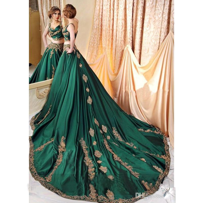 Indian Abaya Green 2 Piece   Evening     Dresses   with Gold Lace Applique Prom Gowns Sexy Saudi Arabic Beaded Kaftan   Dress     Evening   Wear