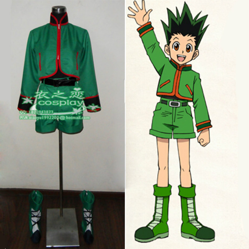 New Gon Freecss Costume Anime Hunter X Hunter Gon Freecss Cosplay Coat Pants Belt Shoes Cover
