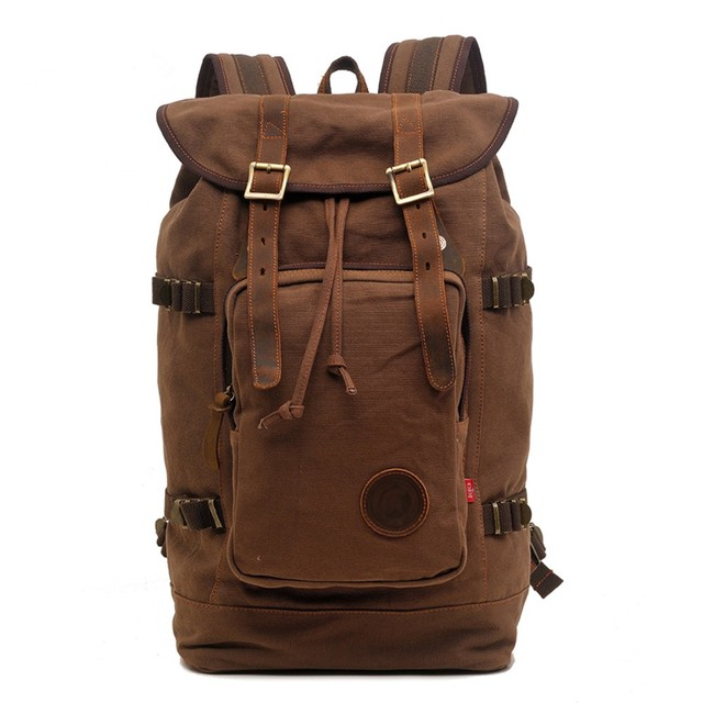 Large capacity Vintage Canvas Military Style School Backpack Rucksack  Mountaineering Hike Backpack Travel Bag Man bag 7bbef442b7d5e