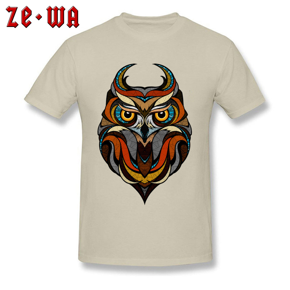 Customized Decorative Owl Mens T-Shirt 2018 Summer Short Sleeve Crewneck 100% Cotton Tops T Shirt Printing Tops T Shirt Decorative Owl  beige