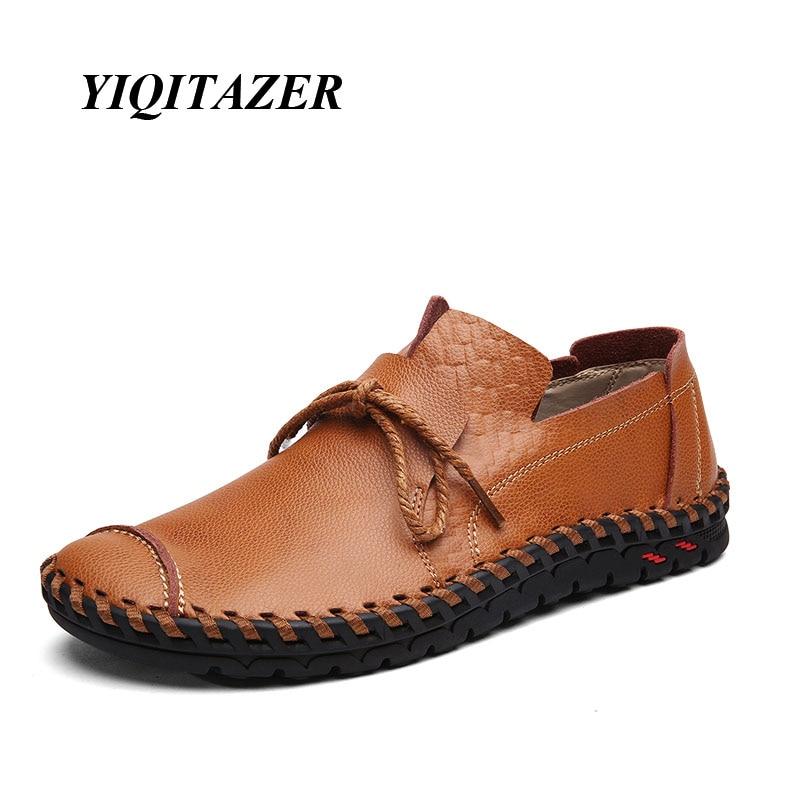 """""""YIQITAZER 2018"""" nauji šaunūs laisvalaikio batai vyrams Oda, guminiai padai, nėriniai, mados odiniai valčių batai vyrams Vasaros ir rudens dydis 7-9,5"""