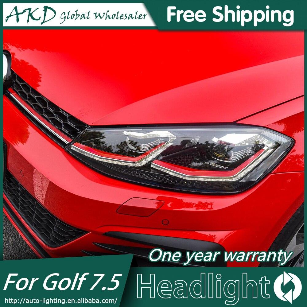 AKD Car Styling Head Lamp for VW GOLF 7.5 2018 MK7.5 Headlight Upgrade Golf 7 2018 Headlights LED Headlight DRL Bi-Xenon Lens
