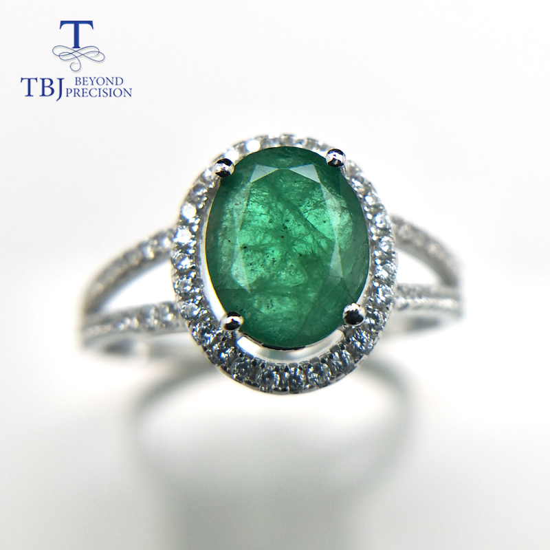 Image 2 - TBJ, 100% natural emerald ring in 925 sterling silver with gift box,elegant dianna rings with natural emerald gemstone ring-in Rings from Jewelry & Accessories