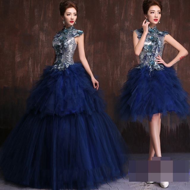 ff426de53a9 2 Piece Quinceanera Dress Removable Princess Dress Prom Masquerade Party  Dresses Navy Blue Quinceanera Dresses Ball Gown 2017