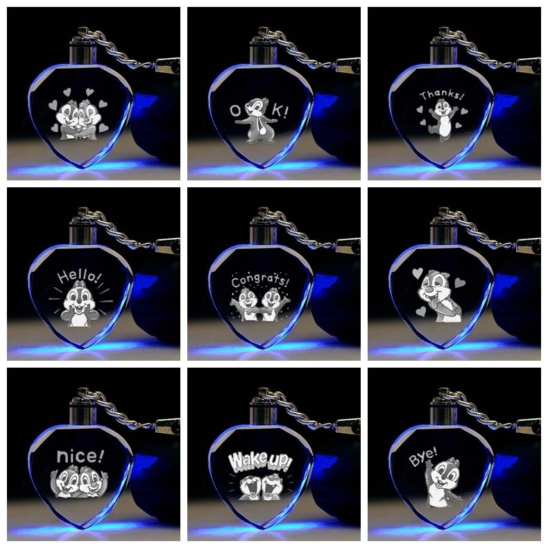 Key-Toys Crystal-Figure-Ornaments Action-Figures Gifts Cartoon-Light Anime Chain Decorative