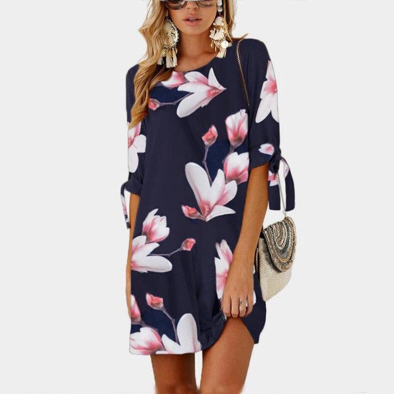 New Summer Ladies Elegant Chiffon Dress 2018 Fashion Girls Floral Print Bowknot Half Sleeves Mini Dress Female Beach Party Dress