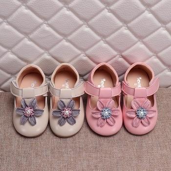 2fedacdd2 Las muchachas de la primavera zapatos de cuero de la Pu zapatos de fiesta para  niños flores Mary Janes zapatos hueco sandalias blanco rosa MCH096