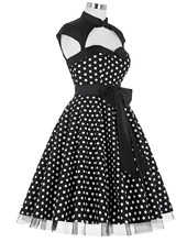 Ladies Summer 50s Polka dots Vintage pinup dress big swing Casual plus size clothing schwarz kleid Dancing Party Dresses kleider