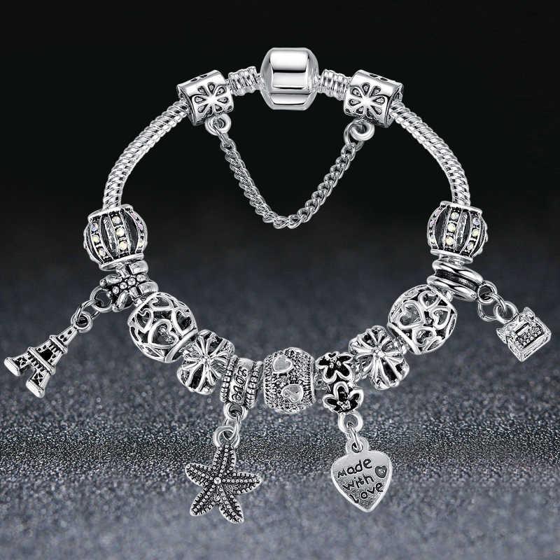 Eleshe Европейский Морская звезда Эйфелева башня бусины в форме сердца шармы браслеты для женщин цепи безопасности браслеты и браслеты ручная работа оригинальный ювелирные изделия