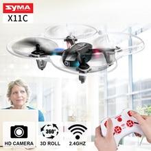 Syma x11c 2.4g 4ch 6 atrakcji turystycznych aix gyro 3d flip bezgłowy tryb mini drone z kamery hd quadcopter dron helikopter wysokiej jakości toys