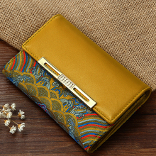 Zip Lock  Lemon Yellow Nifty Manual Embroidery 100% Real Silk Joint Genuine Leather Short Women Wallet Free Shipping YJSN105-6