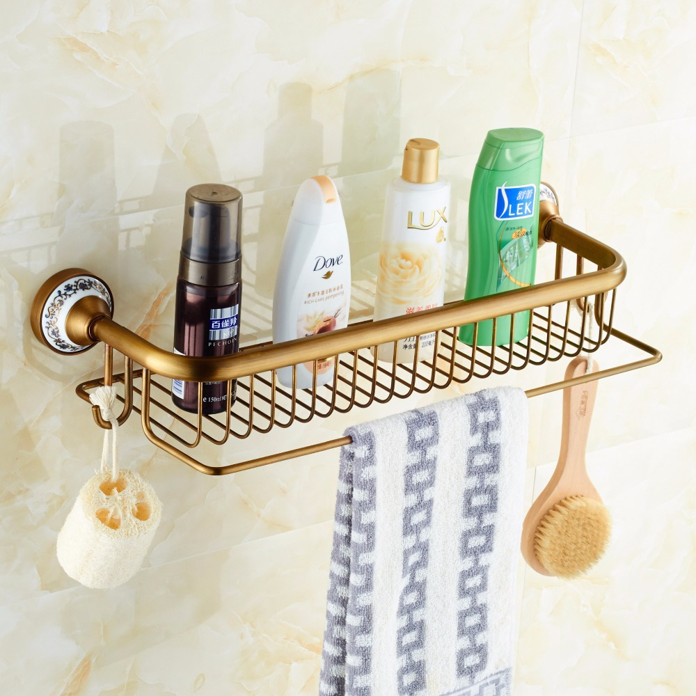 Bathroom Shelves Antique Brass Porcelain Bath Single-Tier Bathroom Storage Rack Wall Mount Bathroom Shelf with Towel Bar 1805F whole brass blackend antique ceramic bath towel rack bathroom towel shelf bathroom towel holder antique black double towel shelf