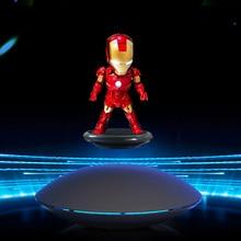 Superhero Rotating flying iron man Superman mk magnetic floatingver with LED Light Doraemon Action Figure Collection Toy
