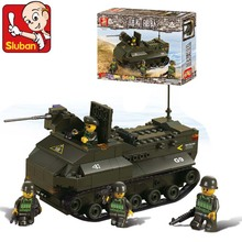 Sluban Building Blocks Army Units Series 6300 Amphibious Tanks Assembled Children's Educational Toys Compatible With Legoe