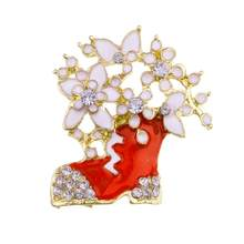 European And American Style New Christmas Brooch Rhinestone Christmas Boots Snowflake Red Shoes Corsage For Women Girls Gifts(China)
