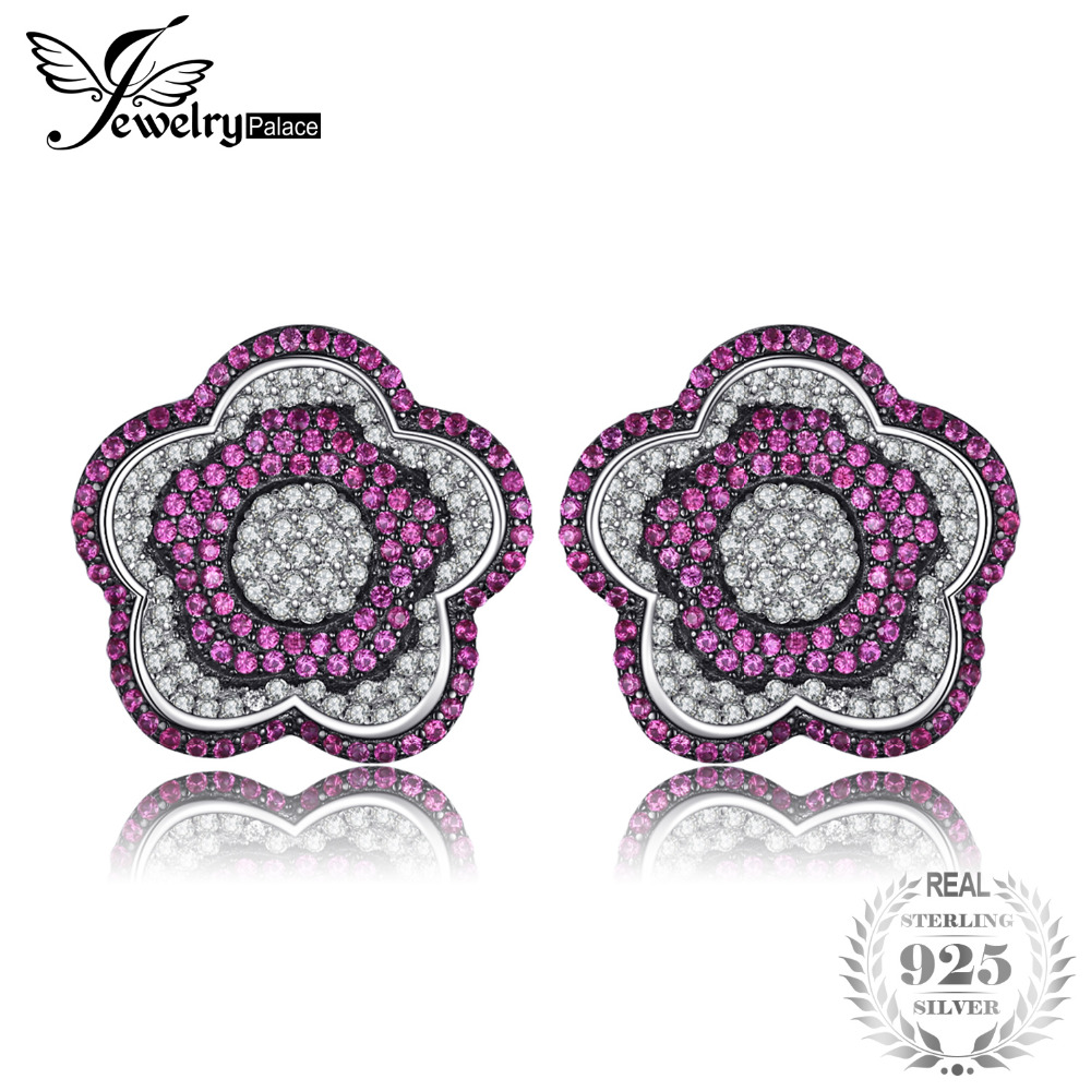 JewelryPalace Flower 1.1ct Created Ruby Pave Earrings 925 Sterling Silver Brand New Jewelry Accessories wedding party gift onda v819mini 7 9 quad core android 4 2 2 tablet pc w 1gb ram 16gb rom hdmi silver white