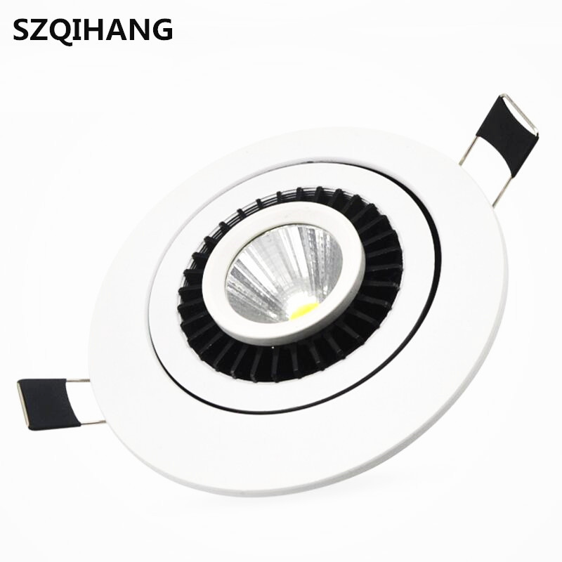 COB Led Down Light Dimmable 7W/10W/15W/2*7W/2*10W/2*15W  Ceiling 360degree rotation Recessed led Spot lamp with drive