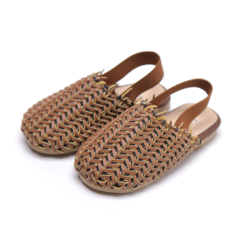 2019 Summer Little Girls Hand Woven Sandals Toddler Elastic Band Slides Little Boys Braided Sandals Kid Solid Beach Sandal Brown