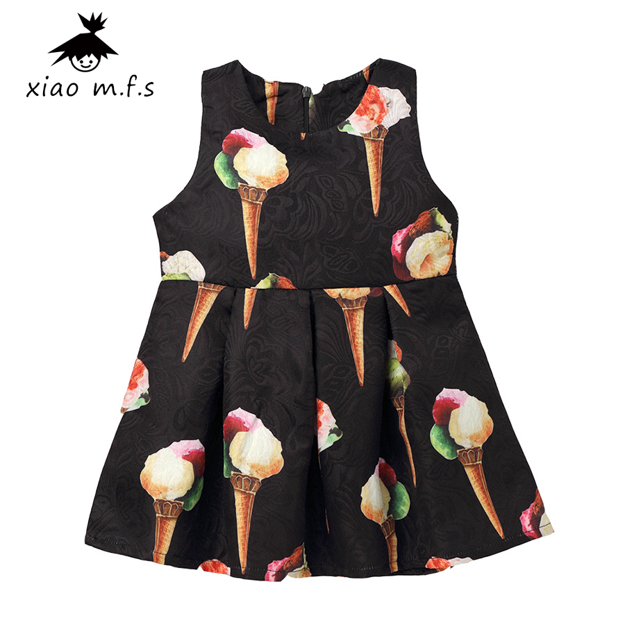 Toddler kids dresses for girls Princess Clothing Print Black girls dress Sleeveless baby girl clothes for party MFS7438-B baby kids girls infant princess clothes dresses bowknot sleeveless cotton ruffled clothing dress sundress girl