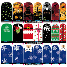 50sheets water decals Transfer Nail art Stickers Full Cover Christmas Halloween Foils Polish DIY Nail Beauty Decals Decoration wuf 10 sheets nail stickers mixed designs water transfer nail art sticker watermark decals diy decoration for beauty nail tools