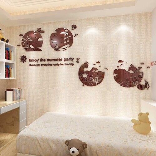 Neue ankunft Kreative cartoon strand 3D acryl wand aufkleber wohnzimmer kinderzimmer dekoration - 4