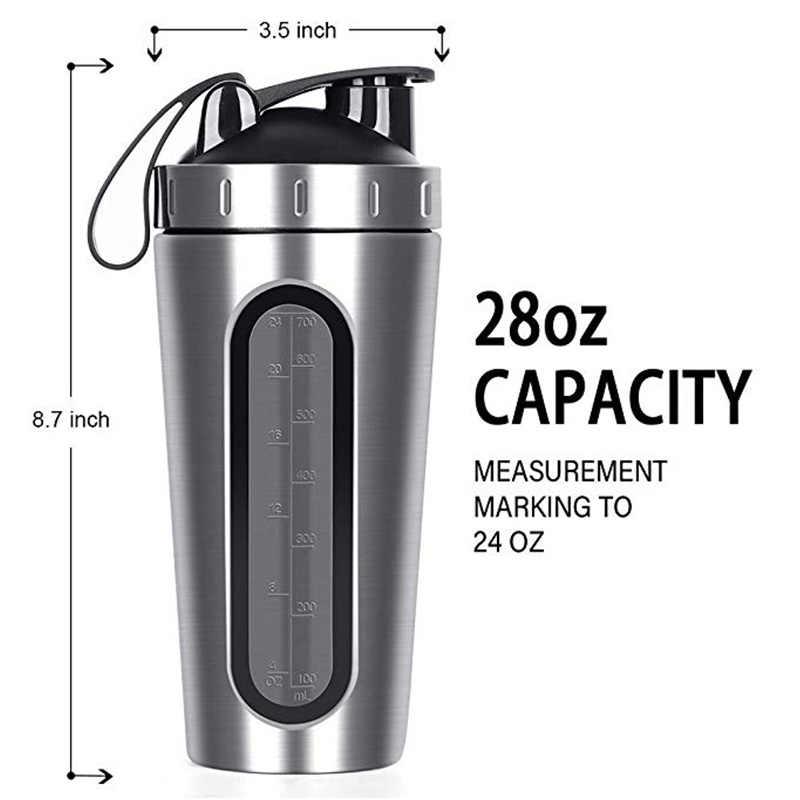 28 OZ Soro Proteína Em Pó Garrafa Shaker Para Garrafas De Água Esportes Ginásio Nutrição Liquidificador Copo de Isolamento A Vácuo de Aço Inoxidável