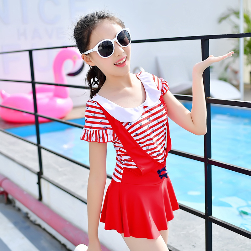 Rushed Girls One Piece Swimsuit Dress children swimwear Grils Sweet Skirt Beach Suit Dress Strappy Short Sleeves Swimdress
