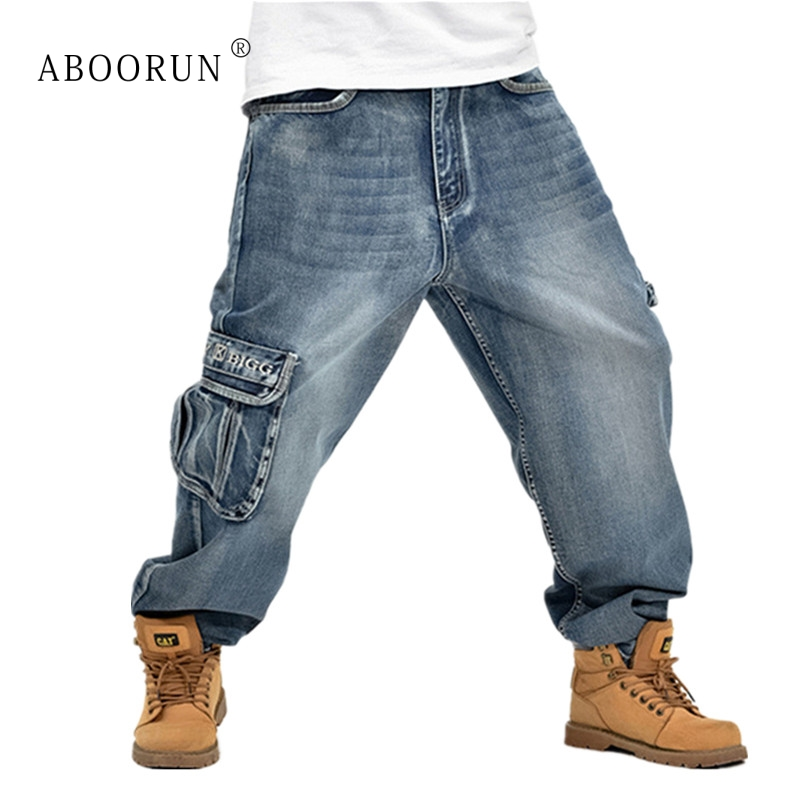 Men's Clothing Amiable Aboorun Hip Hop Mens Baggy Jeans Blue Multi Pockets Cargo Jeans Male Loose Skateboard Denim Pants P3071 Supplement The Vital Energy And Nourish Yin