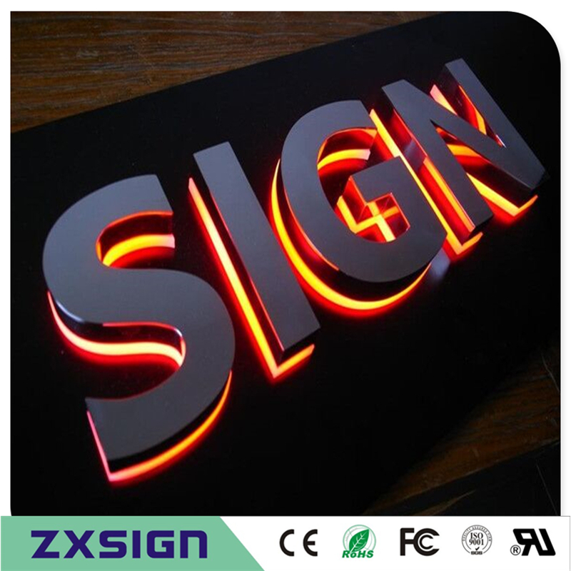 Factory Outlet Stainless Steel Backlit Channel Letters, LED Backlit Sign Letters Outdoor, Back Lighted Lettering Signages