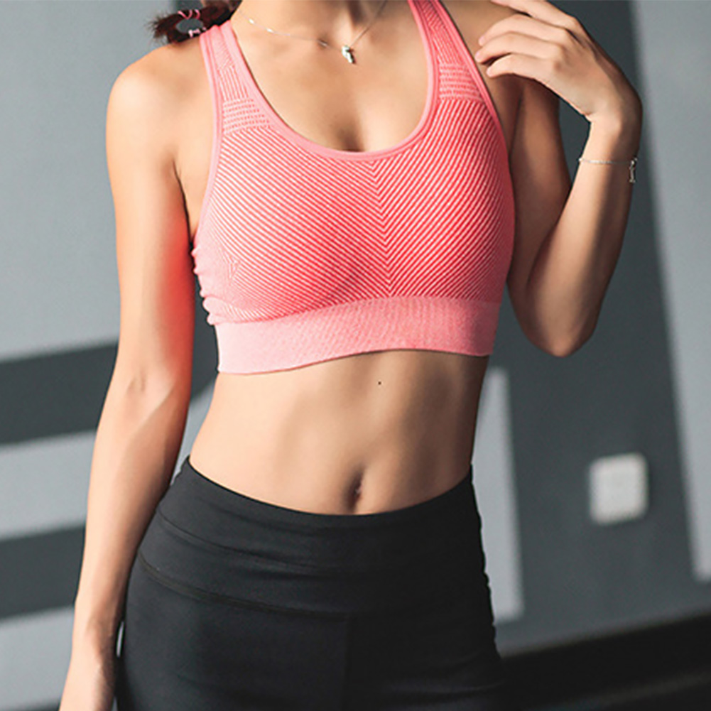 Sports Beautiful Back Anti-vibration Seamless Padded Women Underwear Vest Bra Tops Gathering Yoga Fitness Wirefree Casual