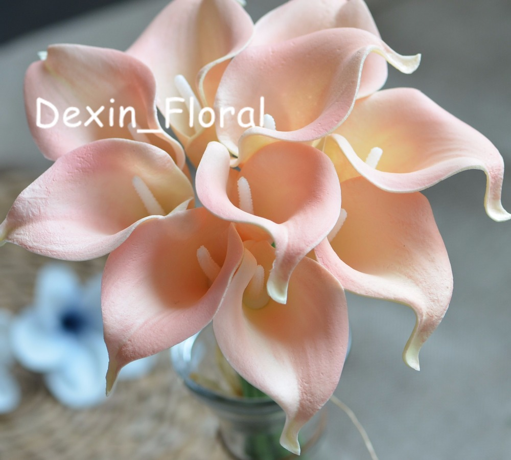 Blush Pink Calla Lilies Real Touch Flowers For Silk Wedding Bouquets ...