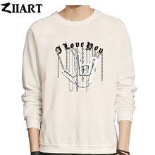 ZIIART chain Gothic i love you hand gesture heavy metal rock couple clothes boys man male fleece Sweatshirt цена и фото