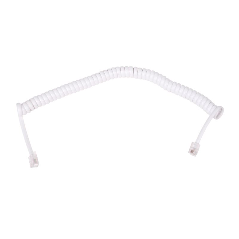 1.5M 4.9Ft White Stretchy RJ9 4P4C Handset Telephone Coiled Cable Cord