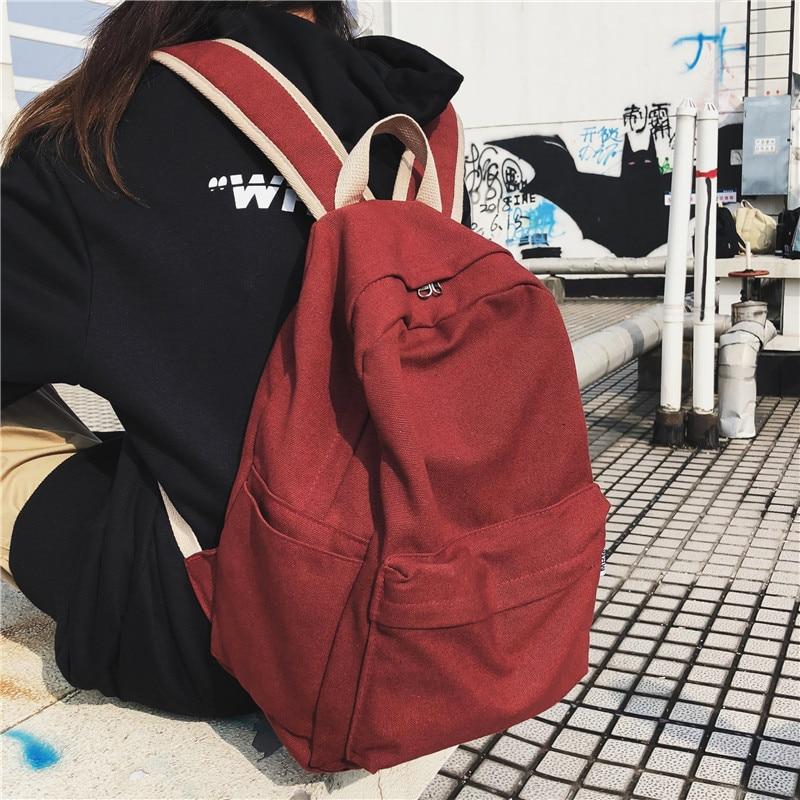 DCIMOR Women Canvas Backpack Female Large Capacity Travel Bag Student School Bag For Teenager Girls Shoulder Bags Ladies Mochila