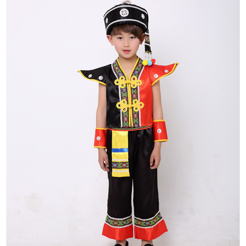 Boy Hmong Clothes Children Miao Clothing National Dance Stage Chinese Folk Dance Costume Chinese Clothes for Men for Boy