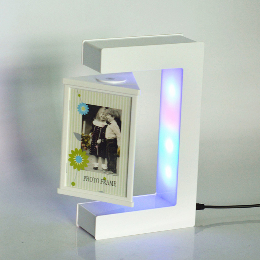 E shape white magnetic levitation floating photo frame for Small led lights for crafts michaels