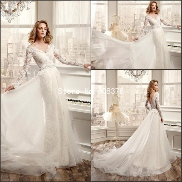 a306d37696 Wedding Dress 2015 Gorgeous Illusion Long Sleeve V Neck Mermaid Lace Bride  Dresses with Detachable Tulle Skirt Open Back MM614