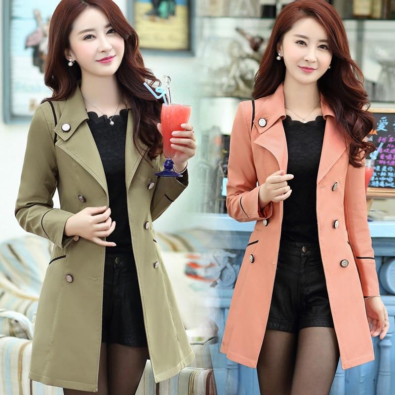 2018 Autumn Women Trench Double Breasted Long Trench Coat Khaki Windbreaker Classic Casual Office Lady Business Outwear Jakcet