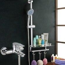 Ванная комната душ слайд-бар смеситель для душа Смесители раздвижные Душ Бар Полка Ванна Душ ABS Chrome с крючками