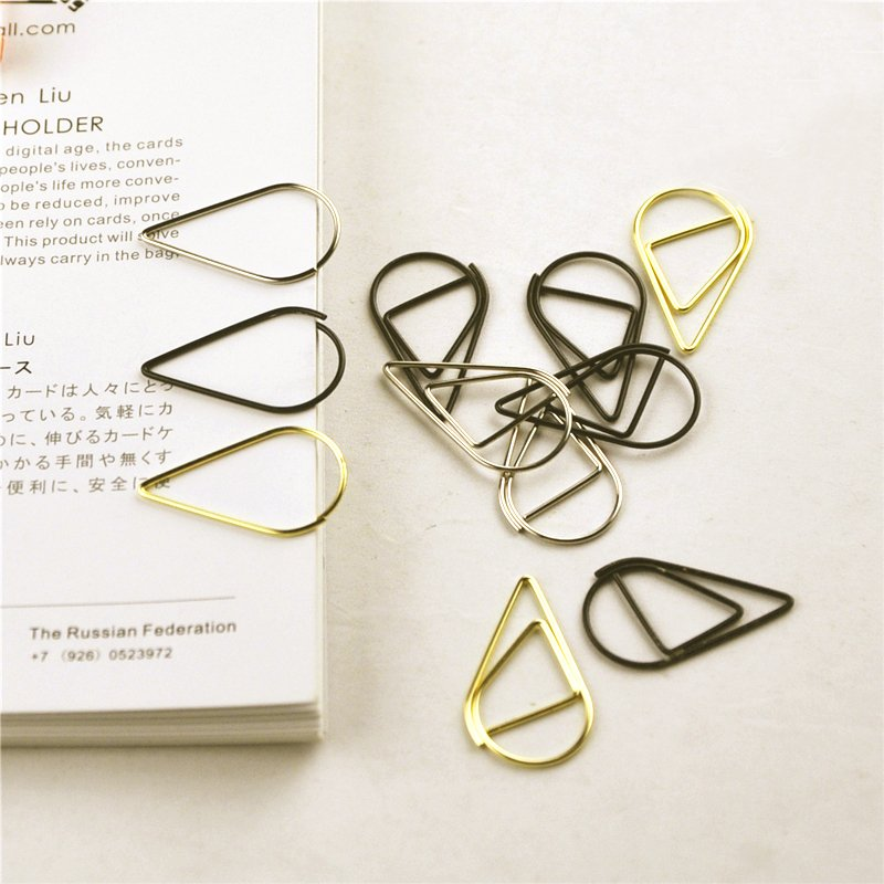 12 Pcs/pack 6 Colors Practical Unique Brief Style Waterdrop Shaped Metal Paper Clip Bookmark Stationery School Office Supplies