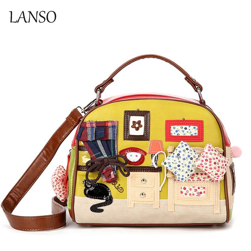 Personality Leisure Bags Retro Hand Carried Messenger Shell Bag Zipper Cartoon Handbags Women Shopping Party Essential