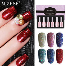 Mizhse Warna Gel Lacquer Rendam Off Tahan Lama Gel Cat Super Mengkilap Payet Gel Nail Polish Diamond Lampu UV gel Lacquer(China)