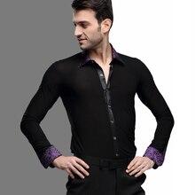 de1eb20b46 Alta calidad baile latino ropa chaqueta de Color negro camisa hombres Chacha  cuadrado hombres adultos salón de baile Tops B-5997